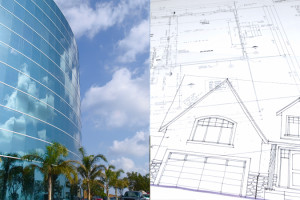 Office building with clouds and palm trees next to blue prints for a house - Oberg Law Group APC