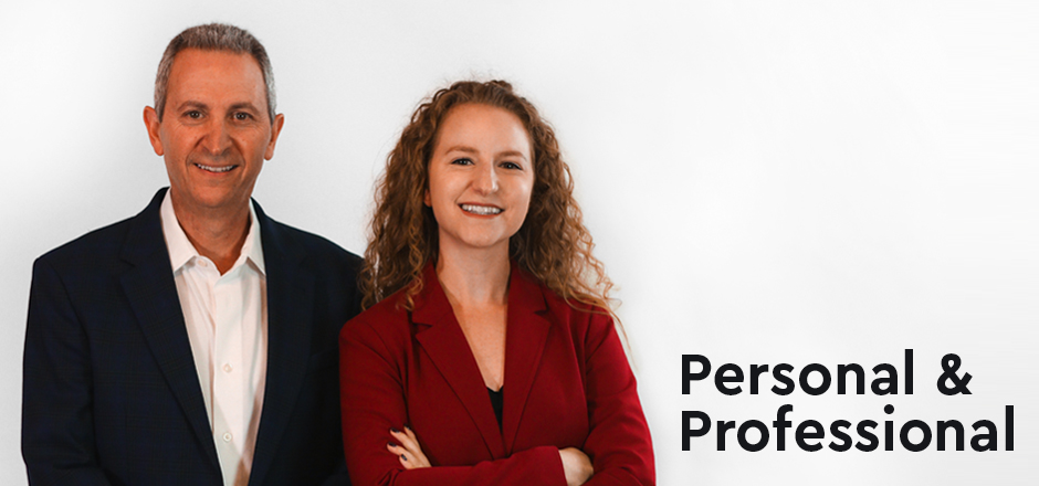 "David Oberg & Madison Oberg, Partners at Oberg Law Group APC smiling with text ""personal and professional"" beside them"