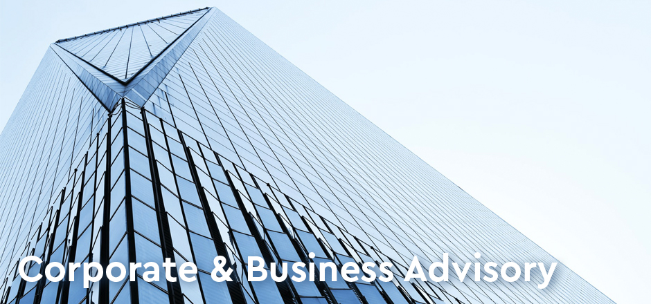 Looking up a blue office building in the sky - Oberg Law Group Corporate Business Advisory