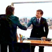 Posterized image of two men shaking hands in an office - Oberg Law Group APC